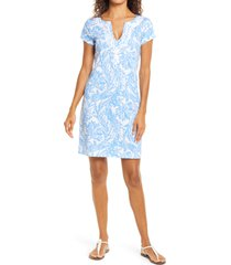 women's lilly pulitzer brewster shift dress, size small - blue