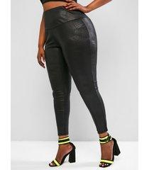 plus size coated snakeskin high waist leggings