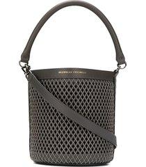 brunello cucinelli micro-stud weave bucket bag - grey