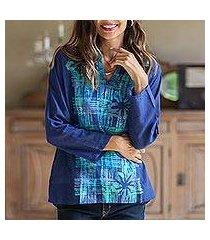 cotton batik blouse, 'ocean blue hibiscus' (thailand)