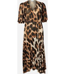 ganni women's printed mesh wrap dress - maxi leopard - eu 42/uk 14