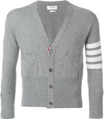 thom browne short v-neck cardigan with 4-bar stripe in light grey