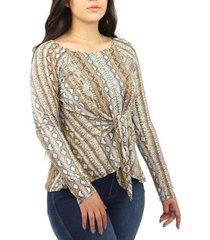 blusa feminina animal print cobra manga longa com amarração - feminino