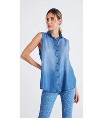 camisa jeans zait regata juliana azul