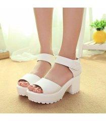 sandalias zapatos plataforma tacón alto cuero moda -blanco