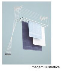 varal de teto / parede em alumínio 100x38 ref. 6121