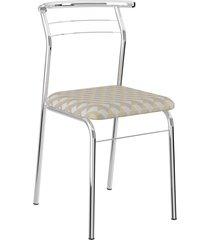 conjunto 2 cadeiras 1708 móveis carraro tecido retro cromada prata