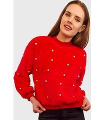 sweater nrg perlas peludito rojo - calce holgado