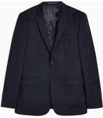 mens premium navy check single breasted skinny fit suit blazer with notch lapels