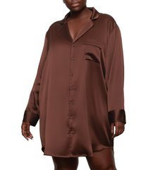 skims stretch silk button-up night dress, size 2 x in cocoa at nordstrom