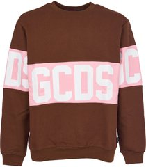 gcds brown sweatshirt with logo