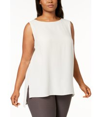 eileen fisher system plus size silk high-low tunic