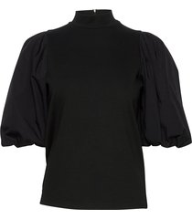 bimagz turtleneck blouses short-sleeved zwart gestuz