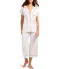 women's eberjey sleep chic crop pajamas, size small - ivory