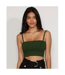 top faixa feminino canelado com recorte e alça removível verde escuro