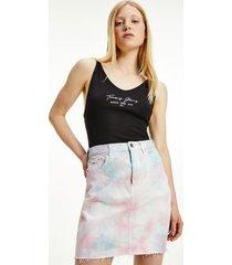 tommy hilfiger women's organic cotton stretch script bodysuit black - l