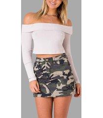 camuflaje con estampado militar patrón minifaldas