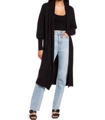 women's afrm shaylee long cardigan, size medium/large - black