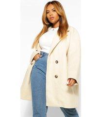 plus oversized nepwollen jas met dubbele knopen, crème
