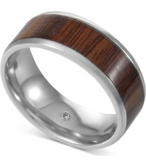 inc men's silver-tone wood ring, created for macy's