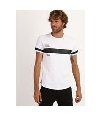 """camiseta masculina slim believer"""" com recortes manga curta gola careca branca"""""""