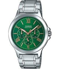 reloj casio mtp v300d 3a acero inoxidable multi calendario -verde