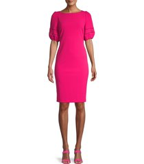 karl lagerfeld paris women's boatneck puffed-sleeve sheath dress - bright rose - size 4