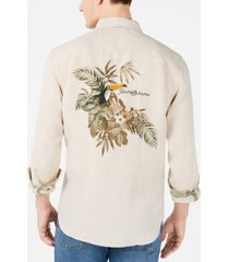 tommy bahama men's big & tall toucan escape tropical print linen shirt