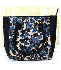 batik cotton tote handbag, 'teal spring' (india)