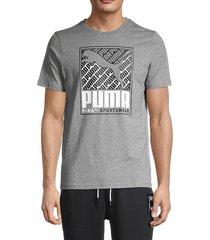 puma men's logo graphic short sleeve t-shirt - grey - size m