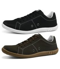 kit sapatênis conforto casual rebento preto e marrom