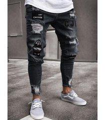 los hombres estiran el agujero del bordado flaco rasgado rayado jeans