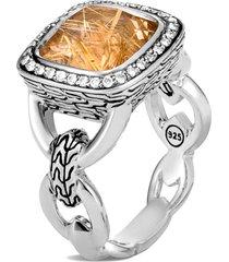 women's john hardy classic chain knife edge diamond pave square ring