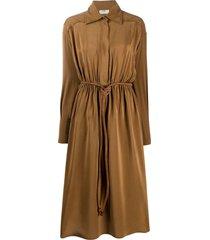 fendi crêpe de chine shirt dress - brown