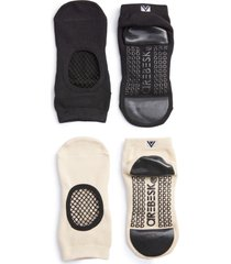 women's arebesk phish net assorted 2-pack ankle socks, size medium - black
