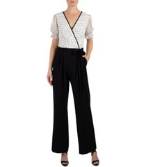 donna ricco dotted-top tie-belted jumpsuit