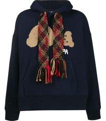 palm angels scarf-detail teddy bear hoodie - blue