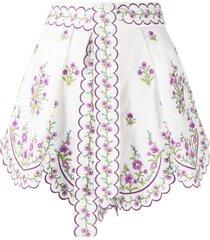 zimmermann floral-print tie-fastening shorts - white
