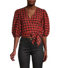 ganni women's gingham cropped wrap blouse - fiery red - size 36 (4)