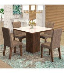 mesa de jantar 4 lugares geisa venus dover/malta/branco - viero móveis