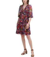 calvin klein floral-print chiffon a-line dress