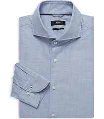 boss hugo boss men's jemerson slim-fit patterned dress shirt - blue - size 17