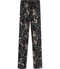 desmond & dempsey samurai print pajama trousers - black