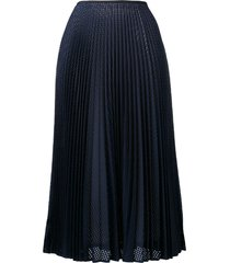 fendi perforated pleated skirt - blue