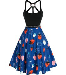 o ring strawberry print studded knee length dress