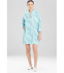 misty leopard challis sleepshirt pajamas / sleepwear / loungewear, women's, plus size, blue, size 3x, n natori
