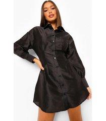 getailleerde taffeta blouse jurk, black