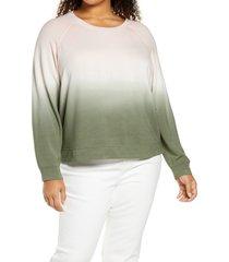 plus size women's sanctuary ombre raglan sweatshirt, size 1x - green