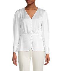 donna karan new york women's v-neck top - cream - size xs