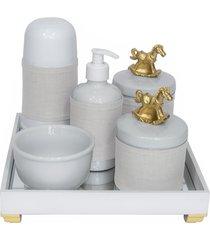 kit higiene espelho completo porcelanas, garrafa pequena e capa cavalinho dourado quarto bebê unissex